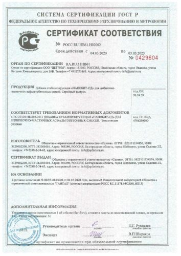 Сертификат соответствия Нанобит-СД с 04.03.2020 по 03.03.2023